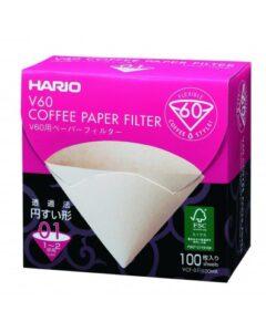 Boîte de 100 Filtres en papier non blanchis Hario V60 2 Tasses