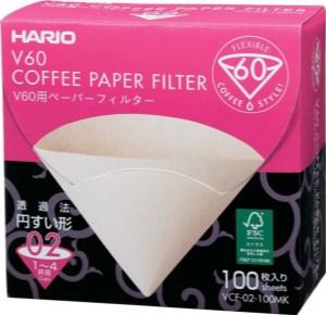 Boîte de 100 filtres en papier non blanchis Hario pour dripper V60 2-4 Tasses