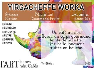 Café de Spécialité Yirgacheffe Worka Nature Ethiopie By L'Artisanes Artisan Torréfacteur à Saint-Quentin